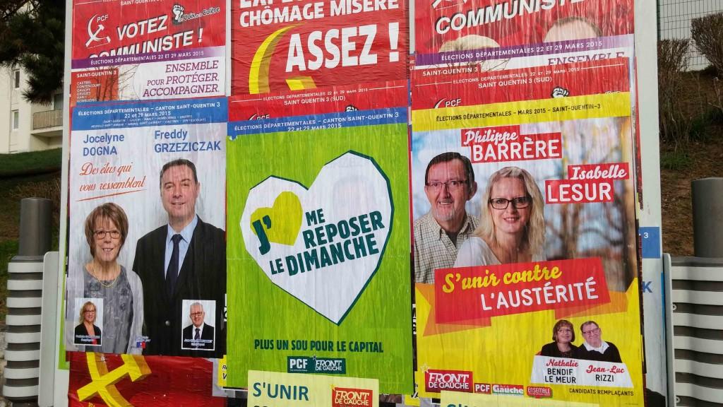 Le Front de Gauche préférant recouvrir les affiches communistes plutôt que celles de l'UMP