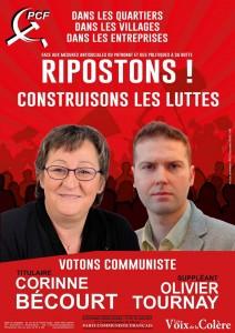 Corinne BECOURT, Olivier TOURNAY, candidats PCF aux élections législatives des 11 et 18 juin 2017-2éme Circonscription de l'Aisne