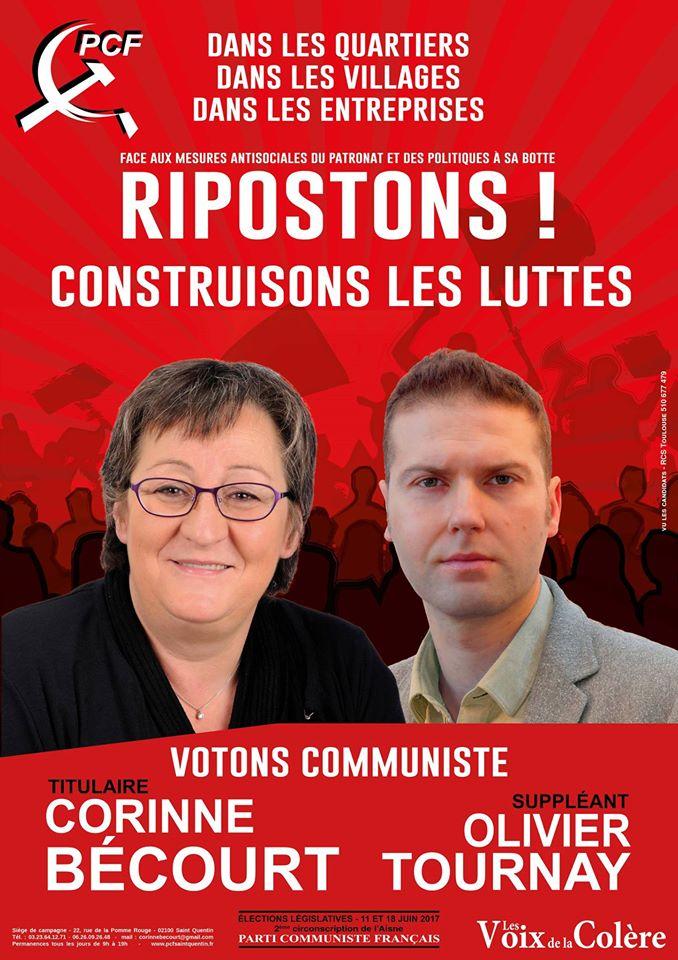 Corinne BECOURT, Olivier TOURNAY, candidats PCF -Elections législatives des 11 et 18 juin 2017-2éme Circonscription de l'Aisne