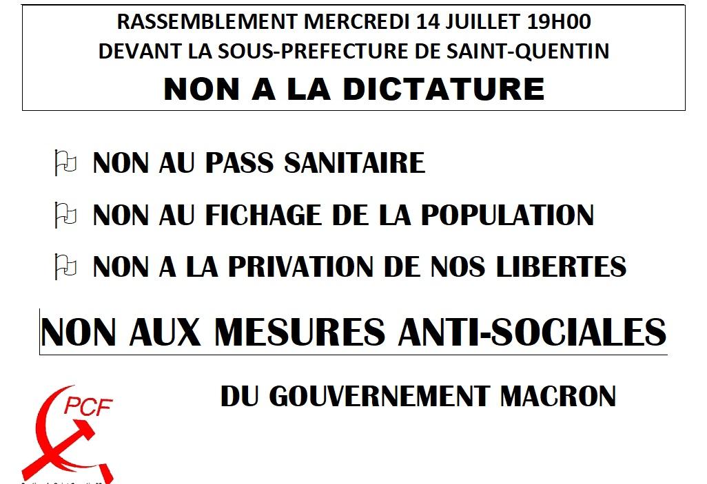 Rassemblement ce 14 juillet 19h devant la sous-préfecture de Saint-Quentin